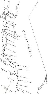 An early map of the 21 Alta California missions.  (Wikipedia Commons)