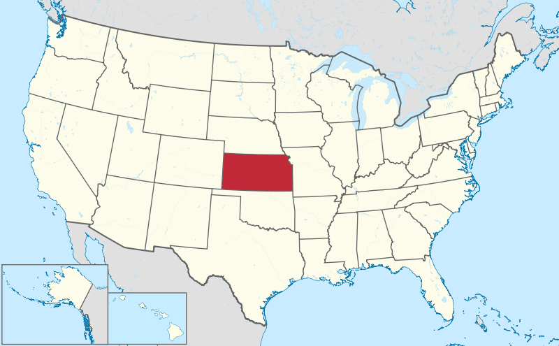 Kansas is smack in the middle of America, all right. (Wikipedia Commons)