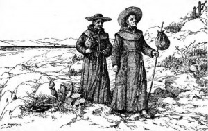 A 1922 sketch of Franciscan missionaries, in their simple cassocks, in California.  (Wikipedia Commons)