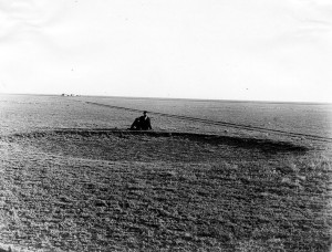 "There have been times when western Kansas DID look like a desert.  The circular depression is a ""wallow"" where buffalo rolled in the dust to coat their hides against stinging flies.  (W. D. Johnson, U.S. Geological Survey)"