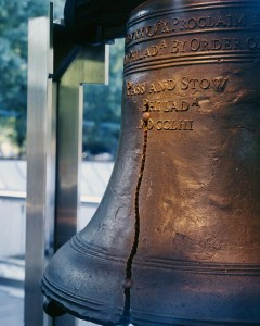 The Liberty Bell cracked almost as soon as it arrived in town, in the 1750s, long before bells all over Philadelphia pealed to celebrate the signing of the Declaration of Independence in 1776.  (Carol M. Highsmith)