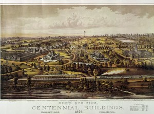 This poster from the 1876 world's fair celebrating America's centennial shows the city quite a few decades after Billy Penn lived there.  (Library of Congress)