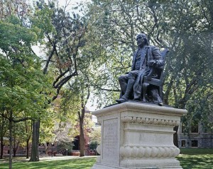 This statue of Benjamin Franklin at the school he founded — the University of Pennsylvania, which, with 23,000 academics and workers, is Philadelphia's largest employer.  (Carol M. Highsmith)