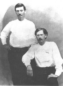 Legendary gunfighters Wyatt Earp, left, and Bat Masterson were both on the right side of the law, as deputy sheriffs, in Dodge City when this 1876 photo portrait was taken.  (Wikipedia Commons)