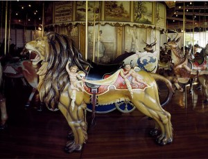 This carousel lion, and the rest of the merry-go-round, in Kit Carson County, Colorado, was made in Philadelphia.  (Carol M. Highsmith)