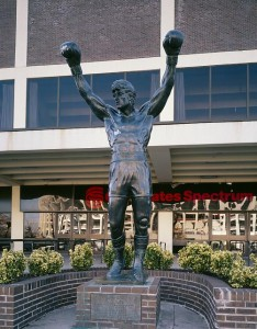 "Rocky Balboa, the Philly-based boxer played by Sylvestor Stallone in a series of popular movies, said ""Yo"" all the time.  This is his statue outside a Philly stadium.  (Carol M. Highsmith)"