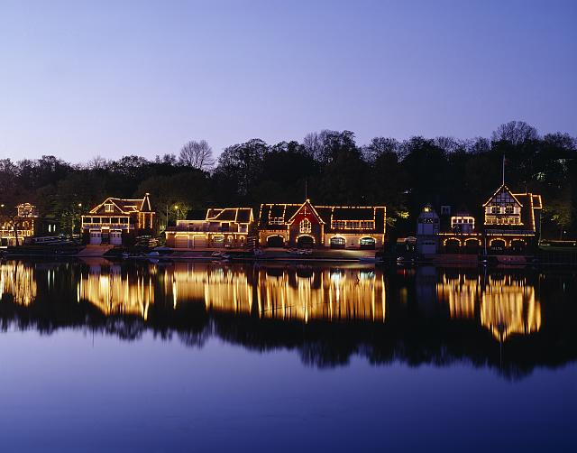 "A classic Philadelphia shot: illuminated boathouses, used to store the craft used in team ""sculling,"" along the Schuylkill River, a tributary of the Delaware that runs right through town.  (Carol M. Highsmith)"