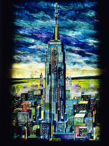 I seem to remember this lovely painted-glass depiction of the Empire State tower in the lobby.  (Carol M. Highsmith)