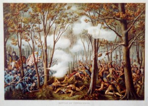 A wilderness battle between U.S. Army and Indian forces.  (Library of Congress)