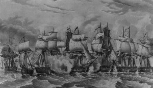British and American warships fought at close quarters in the Battle of Lake Erie in 1813.  (Library of Congress)
