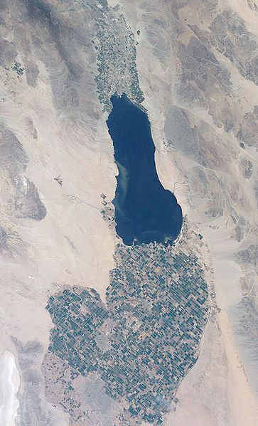 The Salton Sea from space.  (NASA photo)
