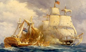 The U.S.S. Constitution pummels the British Guerriere in this painting by Anton Otto Fischer. (U.S. Naval Historical Center)