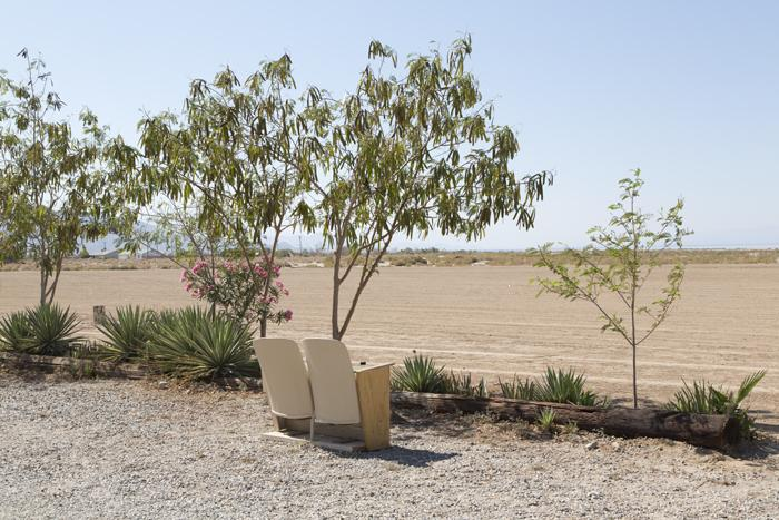 A resident of a trailer park in Salton City came up with an imaginative pair of beach chairs.  (Carol M. Highsmith)