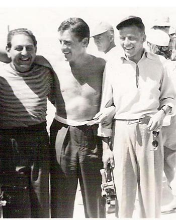Bandleader Guy Lombardo, who kept a yacht on the Salton Sea, hobnobs with comedian Jerry Lewis and singing hearthrob Frank Sinatra.  (Courtesy, Salton Sea History Museum)