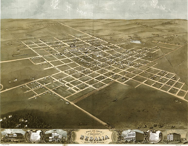 A bird's-eye view of Sedalia, drawn by panoramic artist Albert Ruger in 1869.  I wonder how he did such sketches.  From a balloon?  (Library of Congress)