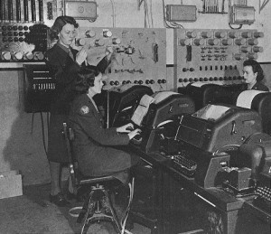 "For those of you under 90, these are ""teletype machines.""  They ""revolutionized"" communications by transmitting the typewritten word -- not just dots and dashes -- from one point to another, or many others, around the world.  (U.S. Army)"
