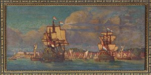 A painting, hanging in the lobby of the Alexander Hamilton Custom House in Lower Manhattan, of the bustling New Amsterdam harbor. (Carol M. Highsmith)