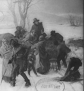"Slaves are shown escaping by wagon and foot in Charles T. Webber's 1893 painting, ""The Underground Railroad.""  (Libraryof Congress)"