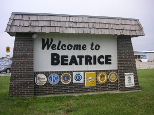 As you can see, a number of service clubs joined in promoting the town of Beatrice -- pronounced be-AT-triss, by the way -- Nebraska.  (blmurch, Flickr Creative Commons)