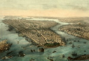 New York, then confined to Manhattan Island and a little of the Bronx, to the left. Brooklyn is front and center in this 1855 painting by Theodore Muller. (Library of Congress)