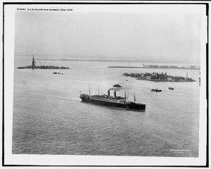 In this photo, taken about 1910, one of many visiting steamships sits off Ellis Island.  (Library of Congress)