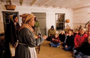 Participants discuss and reflect on their Follow the North Star experience. (Connor Prairie Interactive History Park)
