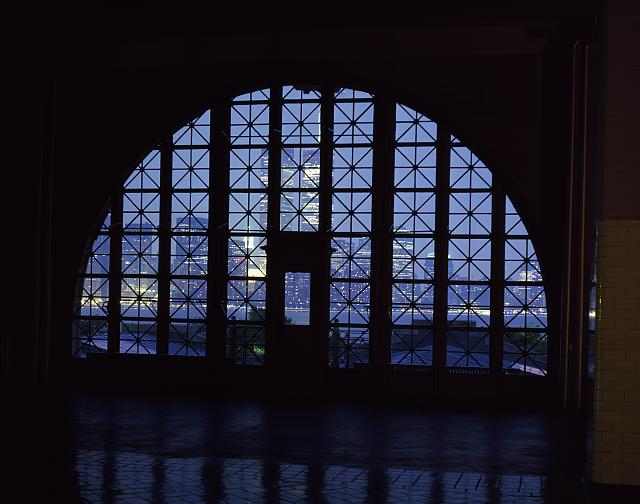 When Carol photographed this iconic Main Hall window, the World Trade Center's Twin Towers still stood in the distance.  (Carol M. Highsmith)