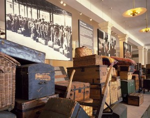 A display of immigrants' baggage at the immigrant museum.  (Carol M. Highsmith)