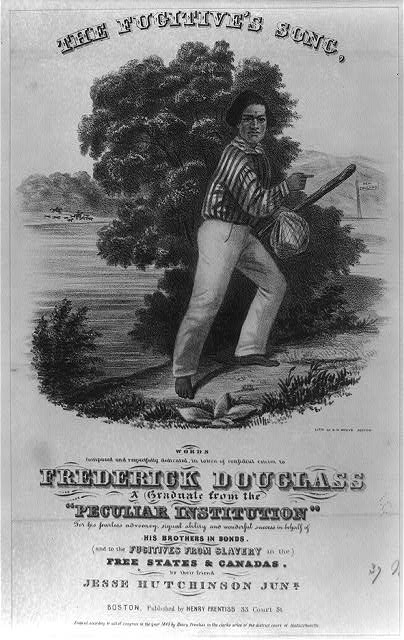 Frederick Douglass is depicted on the cover of The Fugitive's Song sheet music.  (Library of Congress)