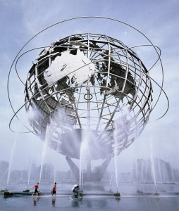 "Gilmore Clark's ""Unisphere"" in Queens is 12 stories high and weighs 409,000 kg (900,000 pounds).  (Carol M. Highsmith)"