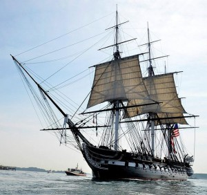 The U.S.S. Constitution at sea just this year, on its way to Maryland for the big War of 1812 Bicentennial celebration.  (Hunter Squires, Wikipedia Commons)