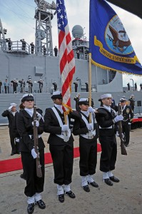 The guided-missile frigate U.S.S. Boone's decommissioning ceremony earlier this year.  (U.S. Navy)