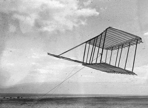 The Wrights' first glider, shown tethered in 1900.  (Library of Congress)