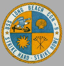 The Long Beach's memorable insignia.  Check out the ship's slogan thereon.  (U.S. Navy)