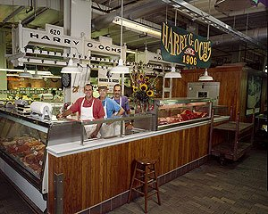 Ochs Bros.' butcher counter at Reading Terminal Market.  (Carol M. Highsmith)