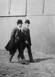 Orville, left, and Wilbur at an aviation tournament on Long Island in 1910.  (Library of Congress)