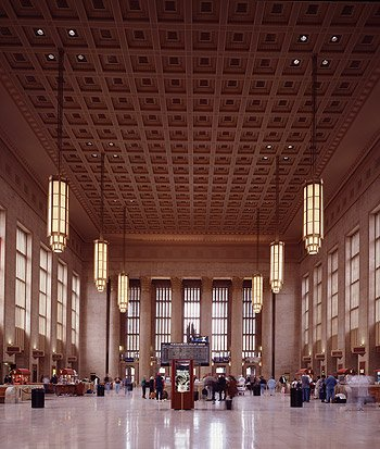 One last lovely terminal view, this time inside Philadelphia's 30th Street Station.  (Carol M. Highsmith)