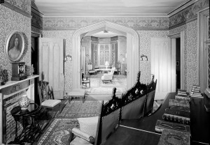 "A parlor at the so-called ""cottage,"" photographed for the Historic American Buildings Survey.  Some cottage! (Library of Congress)"