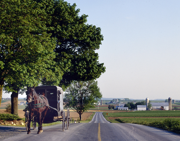 "This view of ""Amish Country"" is also a quiet side of America that we both love.  Whenever possible, we take small roads to get where we're going, if only because we can easily pull off the road when we see something remarkable.  (Carol M. Highsmith)"