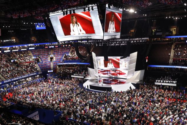 Melania Trump, wife of Republican U.S. presidential candidate Donald Trump, speaks at the Republican National Convention in Cleveland, Ohio, U.S. July 18, 2016. REUTERS/Aaron P. Bernstein - RTSIMJ8