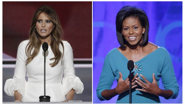 Melania Trump (L), wife of Republican U.S. presidential candidate Donald Trump, speaks at the Republican National Convention in Cleveland, Ohio, U.S. July 18, 2016 and Michelle Obama addresses the opening session of the 2008 Democratic National Convention in Denver, Colorado August 25, 2008 in a combination of file photos. REUTERS/Mike Segar/File Photos TPX IMAGES OF THE DAY - RTSIP4X