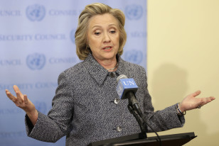 "Former Secretary of State and current presidential hopeful Hillary Clinton speaks to reporters,conceding she should have used a government email to conduct business during her tenure as  secretary of state, saying her decision was simply a matter of ""convenience"" on Mar. 10, 2015, New York."