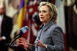 Hillary Clinton answers reporters' questions about using a private email account to conduct business while serving as Secretary of State, March 10, 2015. (AP)