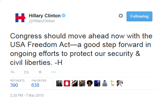 Hillary_Clinton_on_Twitter_Congress_should_move_ahead_now_with_the_USA_Freedom_Act—a_good_step_forward_in_ongoing_efforts_to_protect_our_security_&_civil_liberties._-H_-_2015-05-11_12.04.11