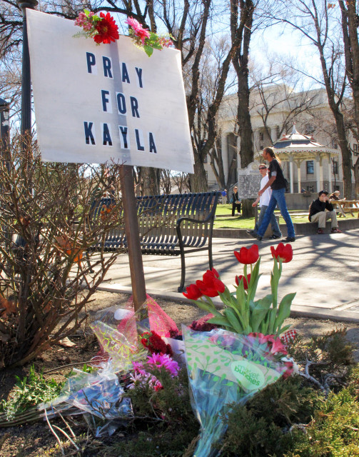 In this Tues., Feb. 10, 2015 file photo, a small memorial honoring American hostage Kayla Mueller has been put up by the community in Prescott, Ariz. (AP File)