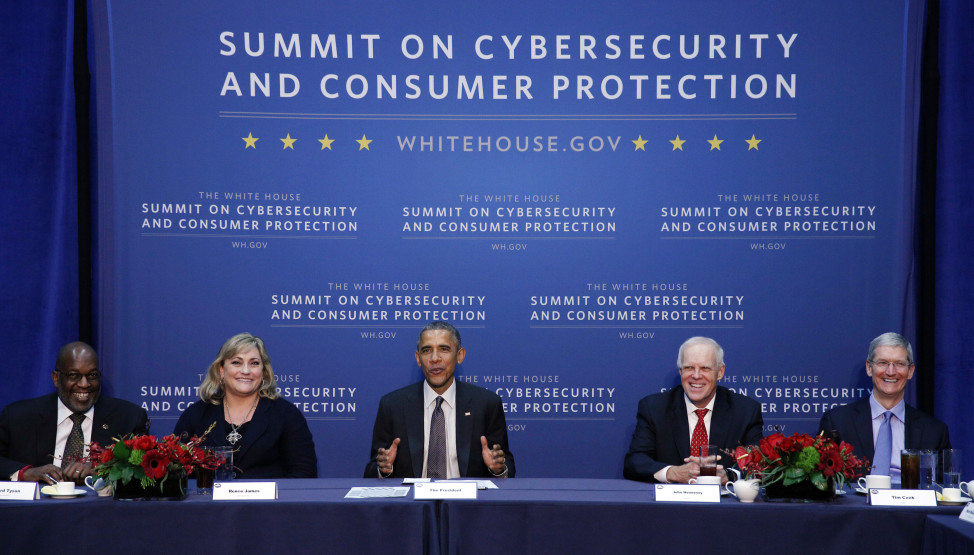 President Barack Obama holds a round table with business leaders at the Summit on Cybersecurity and Consumer Protection in California in June 2015. (Reuters)
