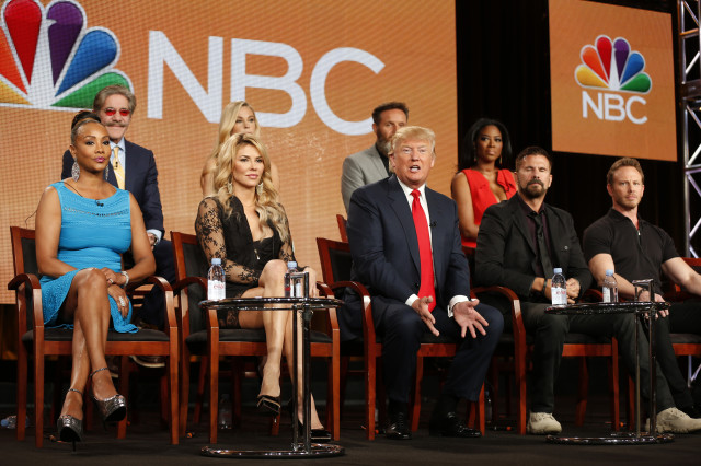 "Executive Producer and host Donald Trump (C) speaks about the NBC television show ""The Celebrity Apprentice"" in California, on Jan. 16, 2015. (Reuters)"