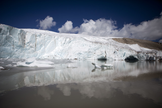 This June 5, 2015. photo shows a view of the Quelccaya Ice Cap in Peru. The Quelccaya Ice Cap is the world's largest tropical glacier. Climate change threatens the complete disappearance of the Andes' tropical glaciers within the next 20 years, putting precious water, energy and food sources at risk. (AP)