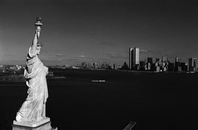 The Statue of Liberty appears below lower Manhattan skyline in New York, July 3, 1971. (AP)
