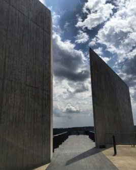 An exterior image shows one part of the new Flight 93 National Memorial Visitors Center in Shanksville, Pennsylvania, September 10, 2015. (K. Farabaugh/VOA)